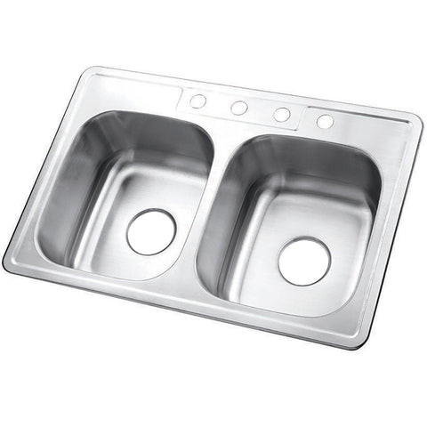 Gourmetier GKTD33227 Drop-in Double Bowl Kitchen Sink, Brushed-GKTD33227 - The Hardware Supply