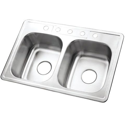 Gourmetier GKTD332285 Drop-in Double Bowl Kitchen Sink, Brushed-GKTD332285 - The Hardware Supply