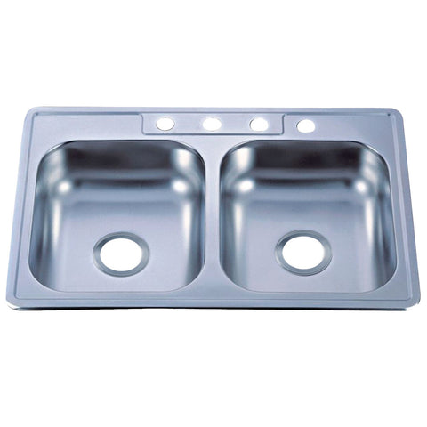 Gourmetier GKTD33228MR Drop-in Double Bowl Kitchen Sink, Mirror-GKTD33228MR - The Hardware Supply