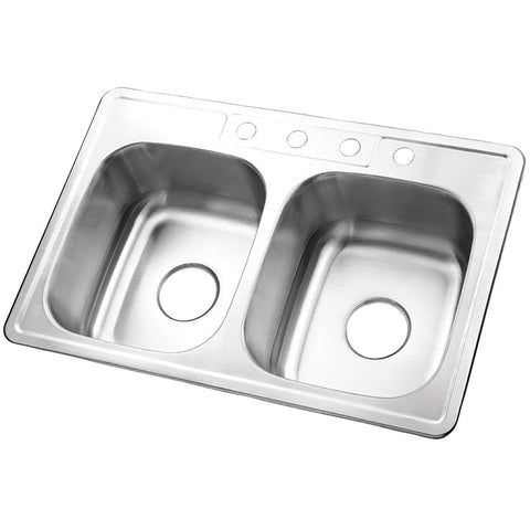 Gourmetier GKTD33228 Drop-in Double Bowl Kitchen Sink, Brushed- - The Hardware Supply