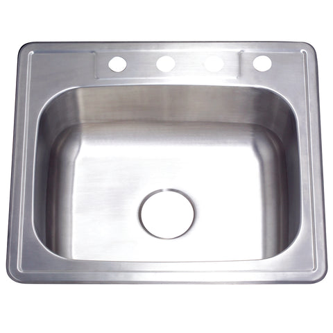Gourmetier GKTS252210 Drop-in Single Bowl Kitchen Sink, Brushed-GKTS252210 - The Hardware Supply