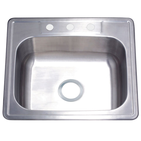 Gourmetier GKTS252283 Drop-in Single Bowl Kitchen Sink, Brushed-GKTS252283 - The Hardware Supply