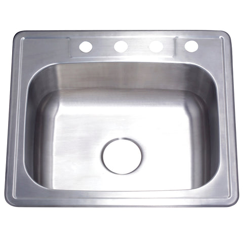 Gourmetier GKTS2522 Drop-in Single Bowl Kitchen Sink, Brushed-GKTS2522 - The Hardware Supply