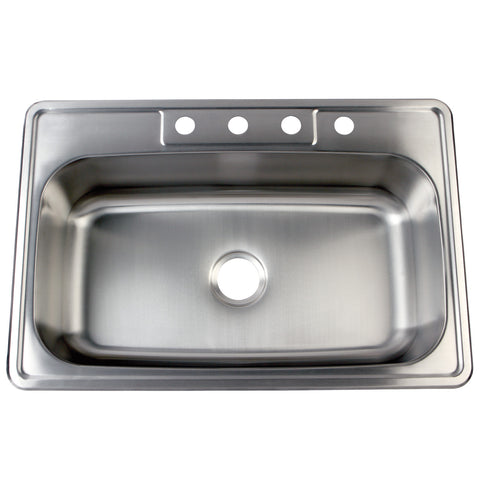 Gourmetier GKTS332290 Drop-in Single Bowl Kitchen Sink, Brushed-GKTS332290 - The Hardware Supply
