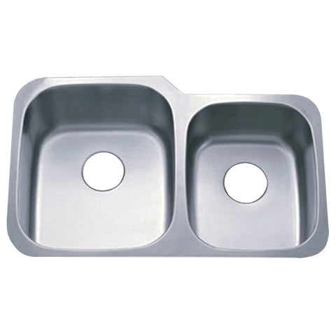 Gourmetier GKUD3221P Undermount Double Bowl Kitchen Sink, Brushed-GKUD3221P - The Hardware Supply