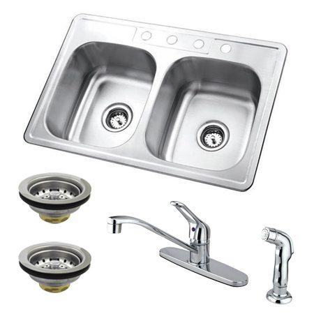 Kingston Brass GKZ33227SP Stainless Steel Double Bowl Undermount Kitchen Sink Combo With Strainers, Brushed-GKZ33227SP - The Hardware Supply