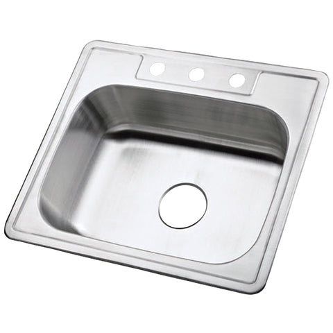 Gourmetier K25228BN Carefree Drop-in Single Bowl Kitchen Sink, Brushed-K25228BN - The Hardware Supply