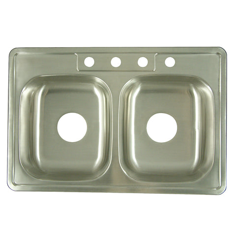 Gourmetier K33226DBN Carefree Drop-in Double Bowl Kitchen Sink, Brushed-K33226DBN - The Hardware Supply