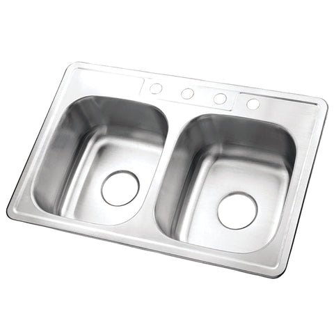 Gourmetier K33228DBN Carefree Drop-in Double Bowl Kitchen Sink, Brushed-K33228DBN - The Hardware Supply