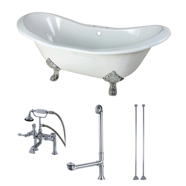Aqua Eden 72-Inch Cast Iron Clawfoot Tub with Faucet Drain and Supply Lines Combo, White/Polished Chrome-KCT7D7231C1 - The Hardware Supply
