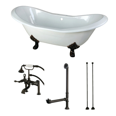 Aqua Eden 72-Inch Cast Iron Clawfoot Tub with Faucet Drain and Supply Lines Combo, White/Oil Rubbed Bronze-KCT7D7231C5 - The Hardware Supply