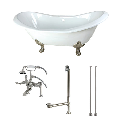Aqua Eden 72-Inch Cast Iron Clawfoot Tub with Faucet Drain and Supply Lines Combo, White/Brushed Nickel-KCT7D7231C8 - The Hardware Supply