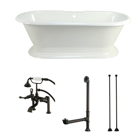 Aqua Eden 72-Inch Cast Iron Pedestal Tub with Faucet Drain and Supply Lines Combo, White/Oil Rubbed Bronze-KCT7D723224C5 - The Hardware Supply