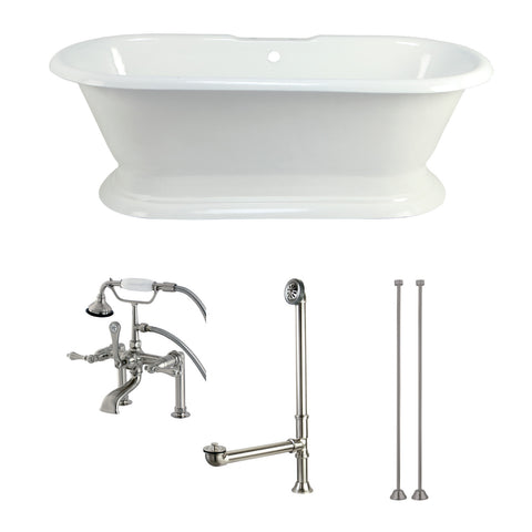 Aqua Eden 72-Inch Cast Iron Pedestal Tub with Faucet Drain and Supply Lines Combo, White/Brushed Nickel-KCT7D723224C8 - The Hardware Supply