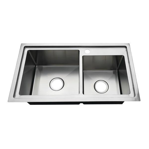 Gourmetier KDS321891DBNL 32″ Drop-In Double Bowl 18-Gauge Kitchen Sink (1 Hole)-KDS321891DBNL - The Hardware Supply