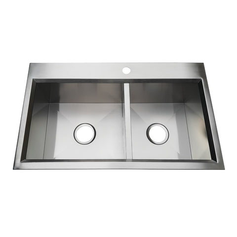 Gourmetier KDS332091DBNL 33″ Drop-In Double Bowl 18-Gauge Kitchen Sink (1 Hole)-KDS332091DBNL - The Hardware Supply