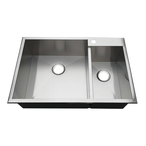 Gourmetier KDS332291DBNR 33″ Drop-In Double Bowl 18-Gauge Kitchen Sink (1 Hole)-KDS332291DBNR - The Hardware Supply