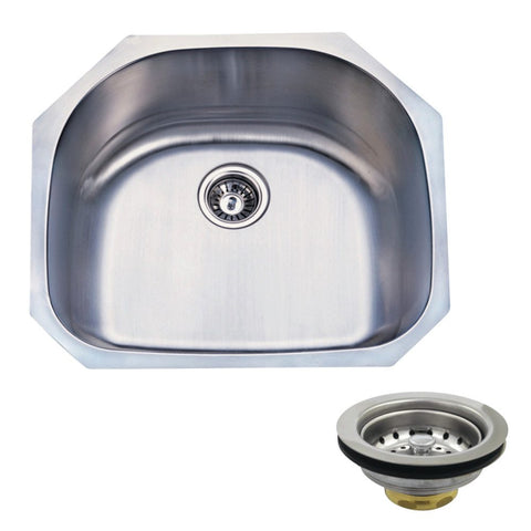Kingston Brass KGKUS2321 Undermount Stainless Steel Single Bowl Kitchen Sink Combo With Strainer, Brushed-KGKUS2321 - The Hardware Supply