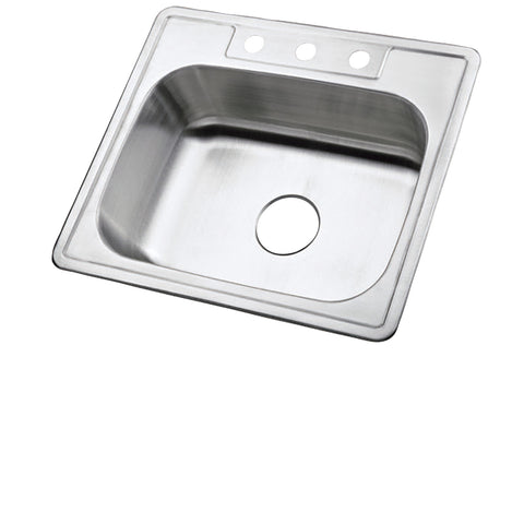 Kingston Brass KK25228BNX Stainless Steel Self-Rimming Single Bowl Kitchen Sink, Brushed-KK25228BNX - The Hardware Supply