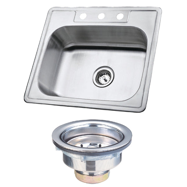 Kingston Brass KK25228BN Stainless Steel Self-Rimming Single Bowl Kitchen Sink, Brushed-KK25228BN - The Hardware Supply