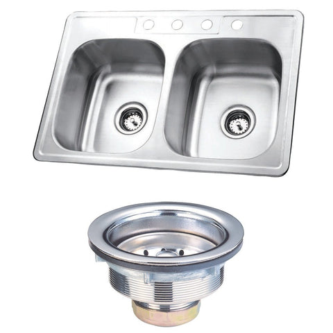 Kingston Brass KK33226DBN Stainless Steel Self-Rimming Double Bowl Kitchen Sink, Brushed-KK33226DBN - The Hardware Supply