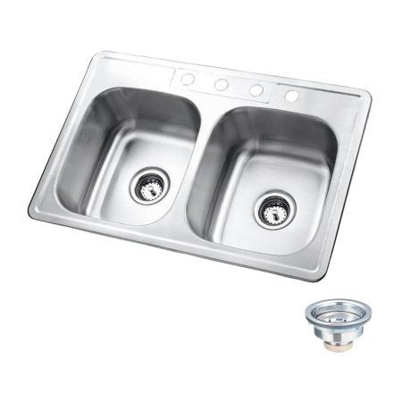 Kingston Brass KK33228DBN Stainless Steel Self-Rimming Double Bowl Kitchen Sink, Brushed-KK33228DBN - The Hardware Supply