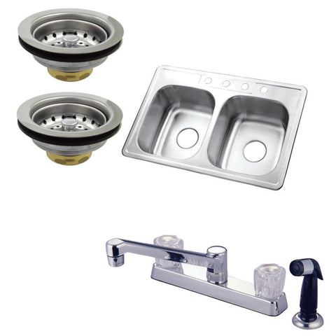 Kingston Brass KZ33226SP Self-Rimming Double Bowl Kitchen Sink with Faucet, Side Sprayer and Strainer, Brushed-KZ33226SP - The Hardware Supply