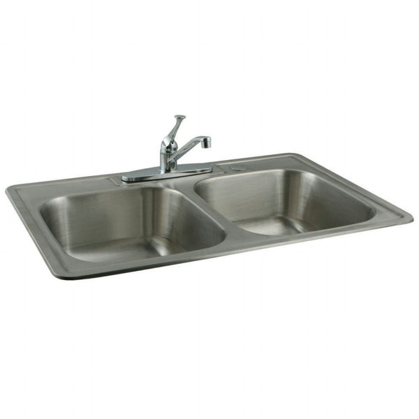 Kingston Brass KZ33228 Stainless Steel Kitchen Sink Combo With Faucet and Strainers, Brushed-KZ33228 - The Hardware Supply
