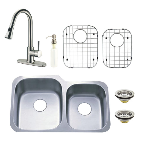 Kingston Brass Loft KZGKUD3221PF Undermount Double Bowl Kitchen Sink and Faucet Combo with Strainer, Grid and Soap Dispenser, Brushed-KZGKUD3221PF - The Hardware Supply