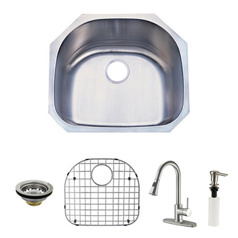 Kingston Brass KZGKUS2321F Undermount Single Bowl Kitchen Sink and Faucet Combo, Brushed-KZGKUS2321F - The Hardware Supply