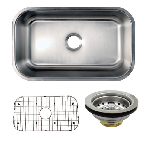 Kingston Brass KZGKUS3018 Undermount Single Bowl Kitchen Sink Combo With Strainer and Grid, Brushed-KZGKUS3018 - The Hardware Supply