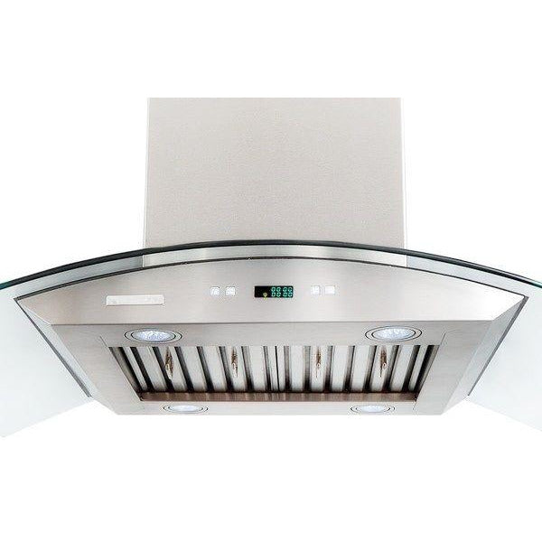 Xtreme Air USA PX01-I36 PRO-X Series LED Lights, Both Side Accessible Controls, Baffle Filters W/ Grease Drain Tunnel Island Mount Range Hood With Capony Temper Glass In Stainless Steel - The Hardware Supply