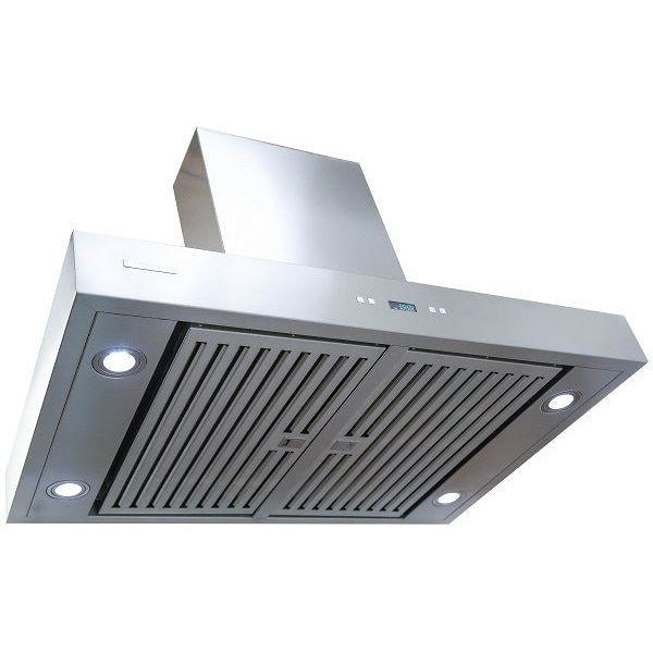 Xtreme Air USA PX04-I42 PRO-X Series LED Lights, Both Side Accessible Control, Swing-Able Flat Filters Non-Magnetic Island Mount Range Hood Seamless Body In Stainless Steel - The Hardware Supply