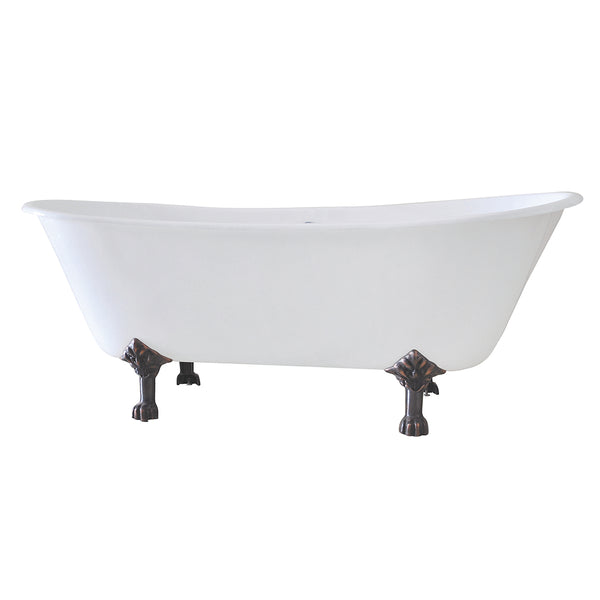 Aqua Eden 67-Inch Cast Iron Double Slipper Clawfoot Tub with 7-Inch Faucet Drillings and Feet, White/Oil Rubbed Bronze-VCT7D6728NH5 - The Hardware Supply