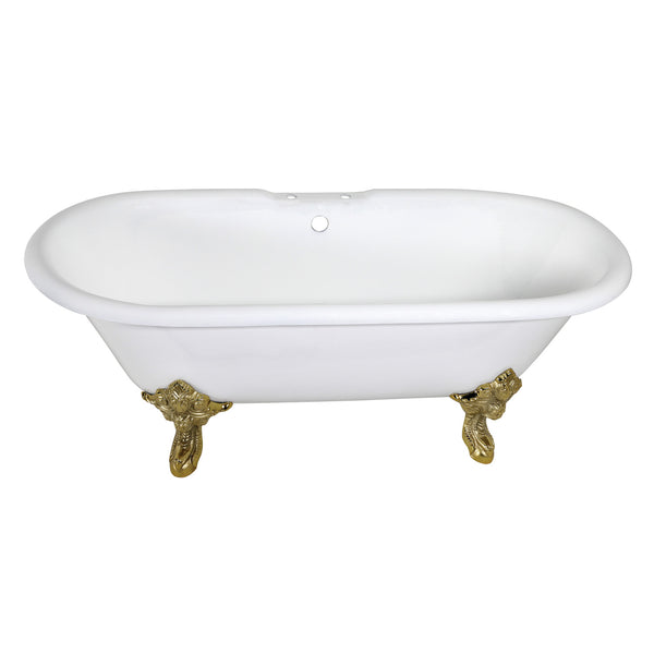 Aqua Eden 72″ Cast Iron Double Ended Clawfoot Tub-VCT7DE7232NL2 - The Hardware Supply