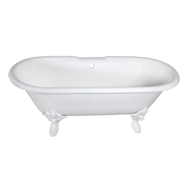 Aqua Eden 72″ Cast Iron Double Ended Clawfoot Tub-VCT7DE7232NLW - The Hardware Supply