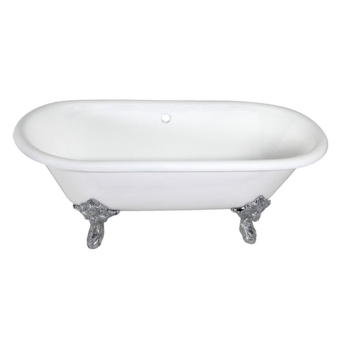 Aqua Eden 72-Inch Cast Iron Double Ended Clawfoot Tub with Feet No Drillings-VCTDE7232NL1 - The Hardware Supply