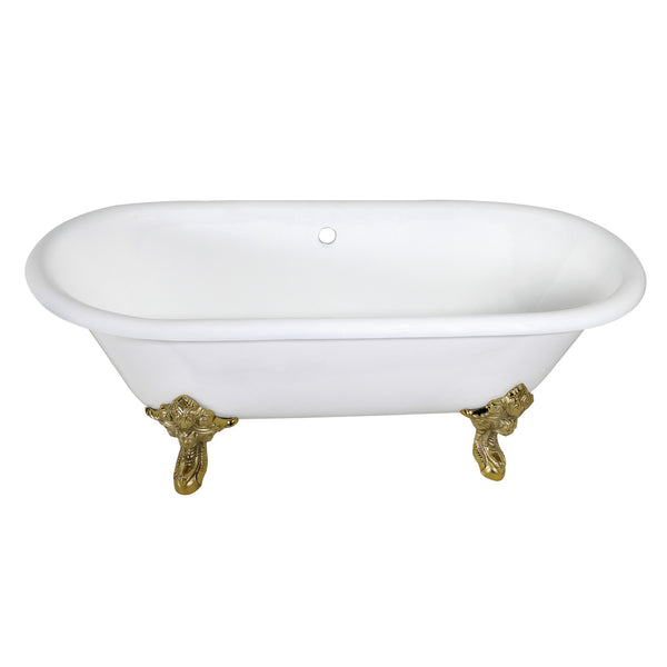 Aqua Eden 72-Inch Cast Iron Double Ended Clawfoot Tub with Feet No Drillings-VCTDE7232NL2 - The Hardware Supply