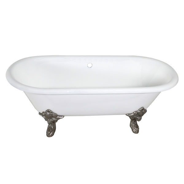 Aqua Eden 72-Inch Cast Iron Double Ended Clawfoot Tub with Feet No Drillings-VCTDE7232NL8 - The Hardware Supply