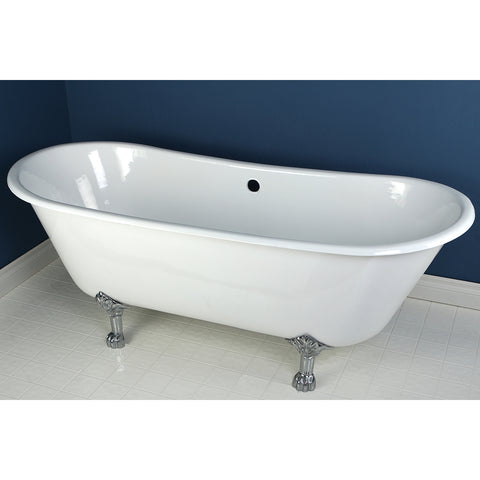 Aqua Eden 67-Inch Cast Iron Double Slipper Clawfoot Tub with Feet No Faucet Drillings, White/Polished Chrome-VCTND6728NH1 - The Hardware Supply