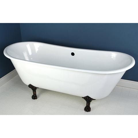 Aqua Eden 67-Inch Cast Iron Double Slipper Clawfoot Tub with Feet No Faucet Drillings, White/Oil Rubbed Bronze-VCTND6728NH5 - The Hardware Supply