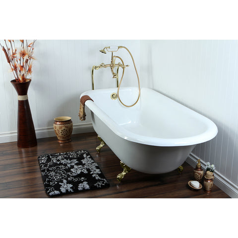 Aqua Eden 67-Inch Cast Iron and Anti-Slide Roll Top Clawfoot Tub with Feet No Faucet Drillings, White/Polished Brass-VCTND673123T2 - The Hardware Supply