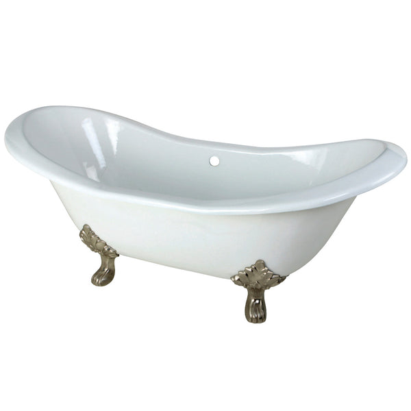 Aqua Eden 72-Inch Cast Iron Double Slipper Clawfoot Tub with Feet No Faucet Drillings, White/Brushed Nickel-VCTND7231NC8 - The Hardware Supply
