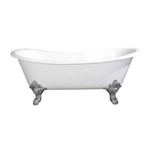 Aqua Eden 67-Inch Cast Iron Double Slipper Clawfoot Tub with Feet No Drillings-VCTNDS6731NL1 - The Hardware Supply