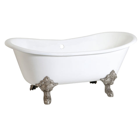 Aqua Eden 67-Inch Cast Iron Double Slipper Clawfoot Tub with Feet No Drillings-VCTNDS6731NL8 - The Hardware Supply