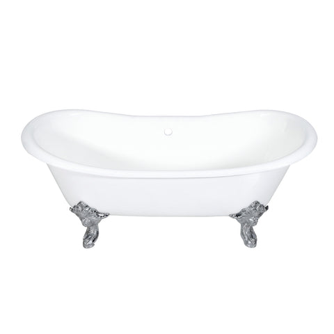 Aqua Eden 72-Inch Cast Iron Double Ended Clawfoot Tub with Feet No Drillings, White/Polished Chrome-VCTNDS7231NL1 - The Hardware Supply