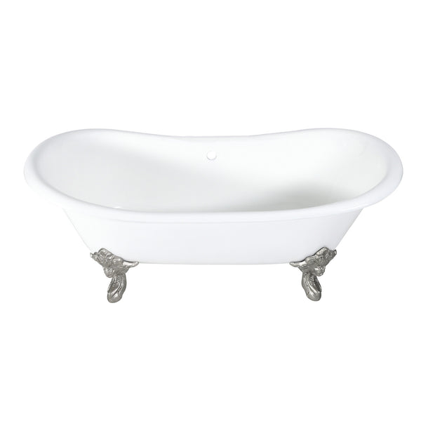 Aqua Eden 72-Inch Cast Iron Double Ended Clawfoot Tub with Feet No Drillings, White/Brushed Nickel-VCTNDS7231NL8 - The Hardware Supply