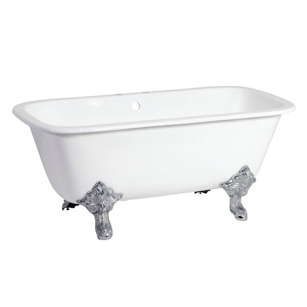 Aqua Eden 67″ Cast Iron Dbl Slipper Clawfoot Tub with 7″ Faucet Drillings & Feet-VCTQ7D6732NL1 - The Hardware Supply
