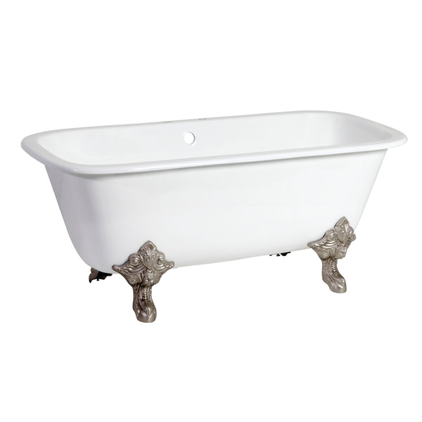 Aqua Eden 67″ Cast Iron Dbl Slipper Clawfoot Tub with 7″ Faucet Drillings & Feet-VCTQ7D6732NL8 - The Hardware Supply