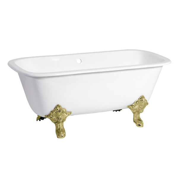 Aqua Eden 67″ Cast Iron Square Double Ended Clawfoot Tub w/ Feet No Faucet Holes-VCTQND6732NL2 - The Hardware Supply
